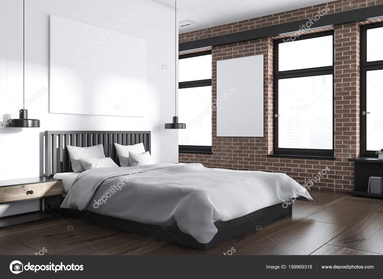 Moderne Slaapkamer Wit.Hoek Van Moderne Slaapkamer Met Wit Bakstenen Muren Een