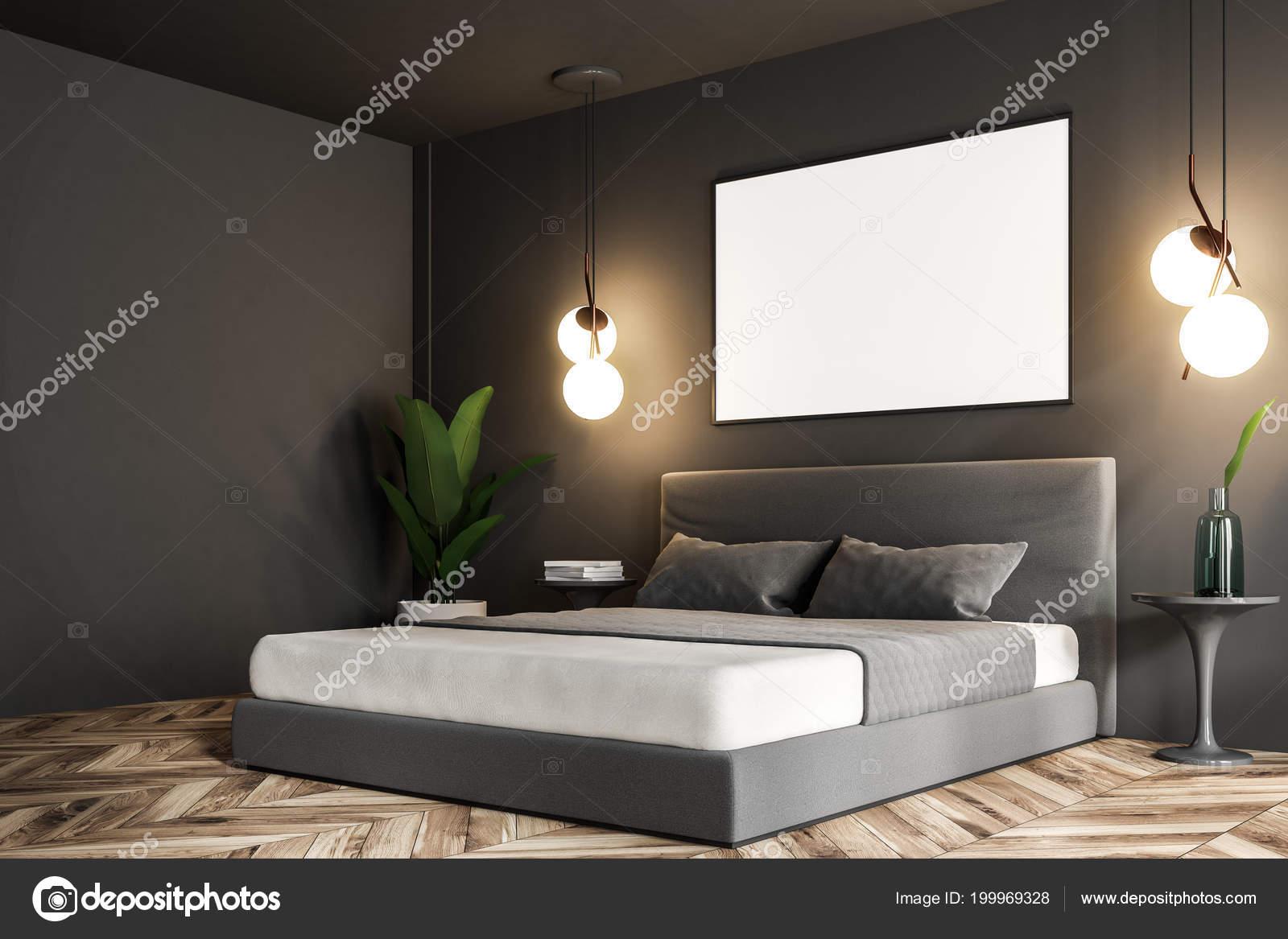 Dunkler Fußboden Schlafzimmer ~ Seitenansicht eines schlafzimmer interieurs mit dunklen grauen