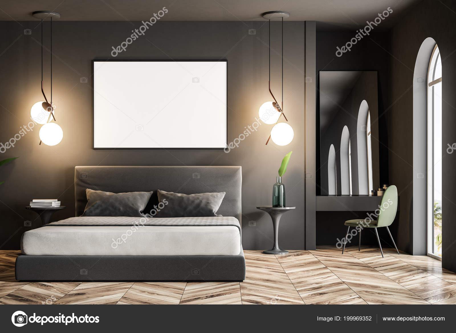 Dunkler Fußboden Schlafzimmer ~ Moderne schlafzimmer einrichtung mit dunklen grauen wänden einen