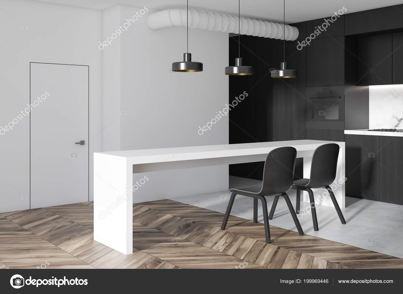 Canto Cozinha Branco Preto Apartamento Estúdio Com Piso Madeira
