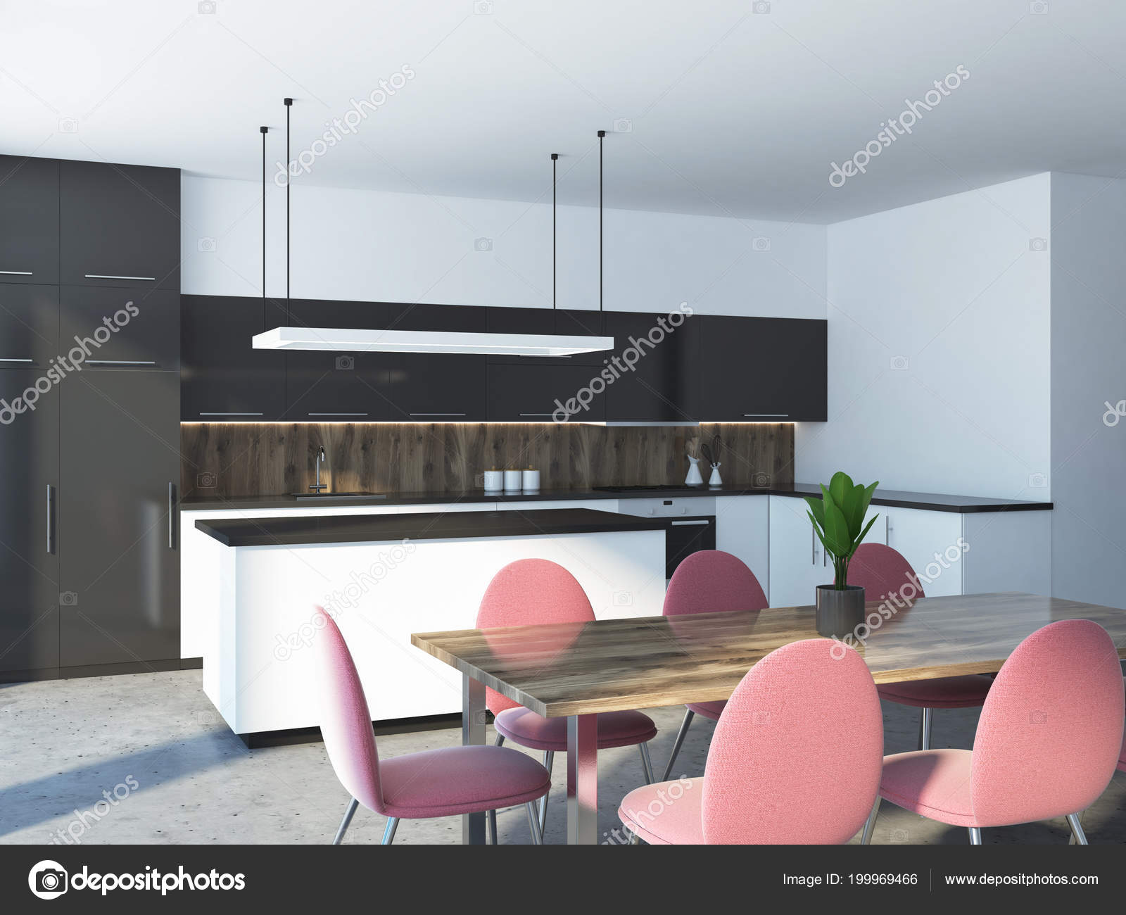 Pink Chairs Standing Dining Room Table Studio Kitchen