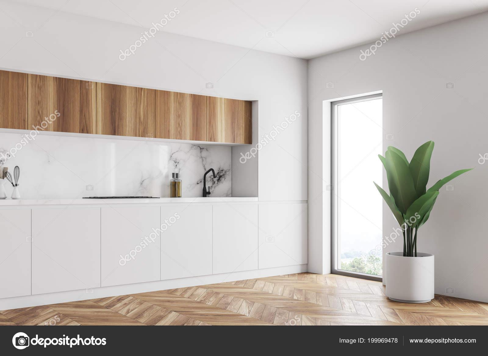 Piani cucina legno bianco tavolo marmo bianco primo piano una foto stock denisismagilov - Piani cucina in legno ...
