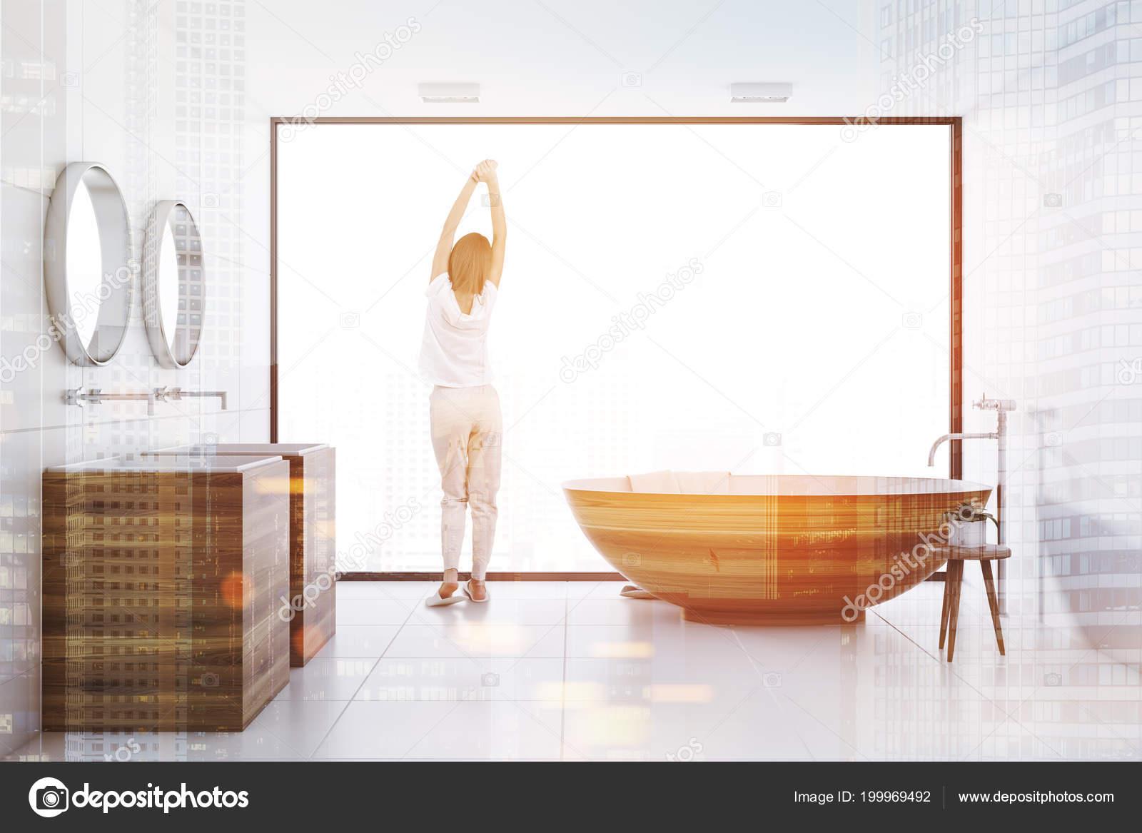 Woman Panoramic Bathroom Interior White Walls White Tile Floor ...