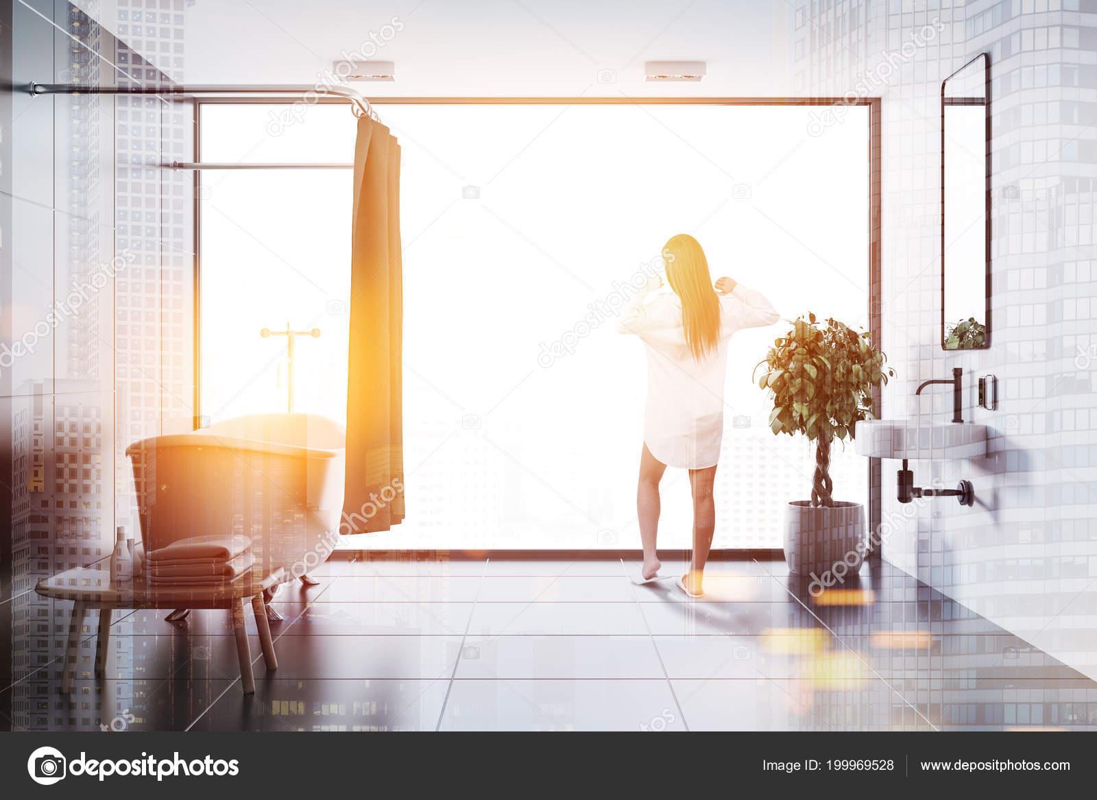 Woman Black Tile Bathroom Interior Black Tile Floor White Bathtub ...