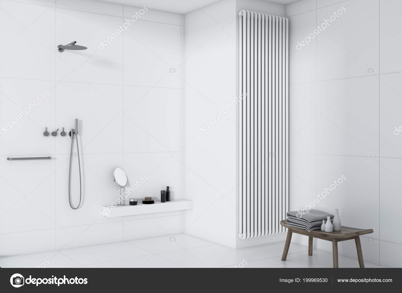 Weiße Fliesen Badezimmer Mit Einem Weißen Fliesenboden Und ...