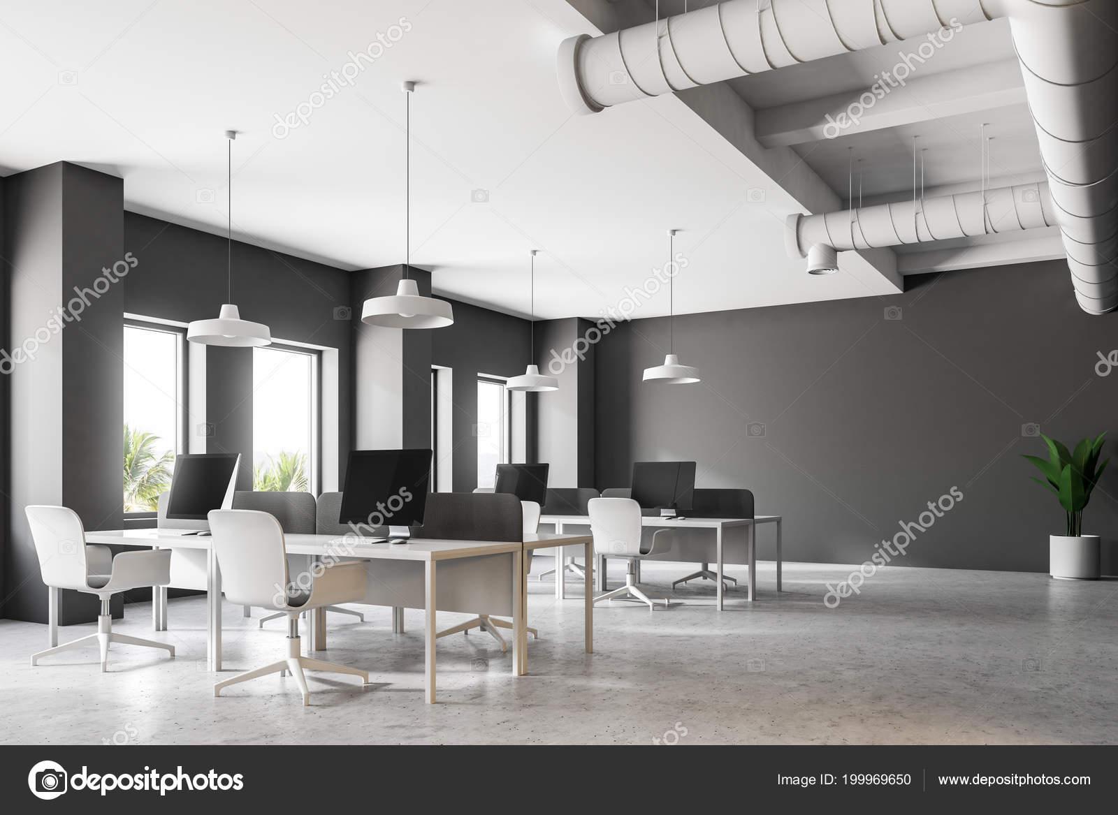 Pavimento Bianco Grigio : Angolo ufficio stile industriale grigio scuro con pavimento bianco