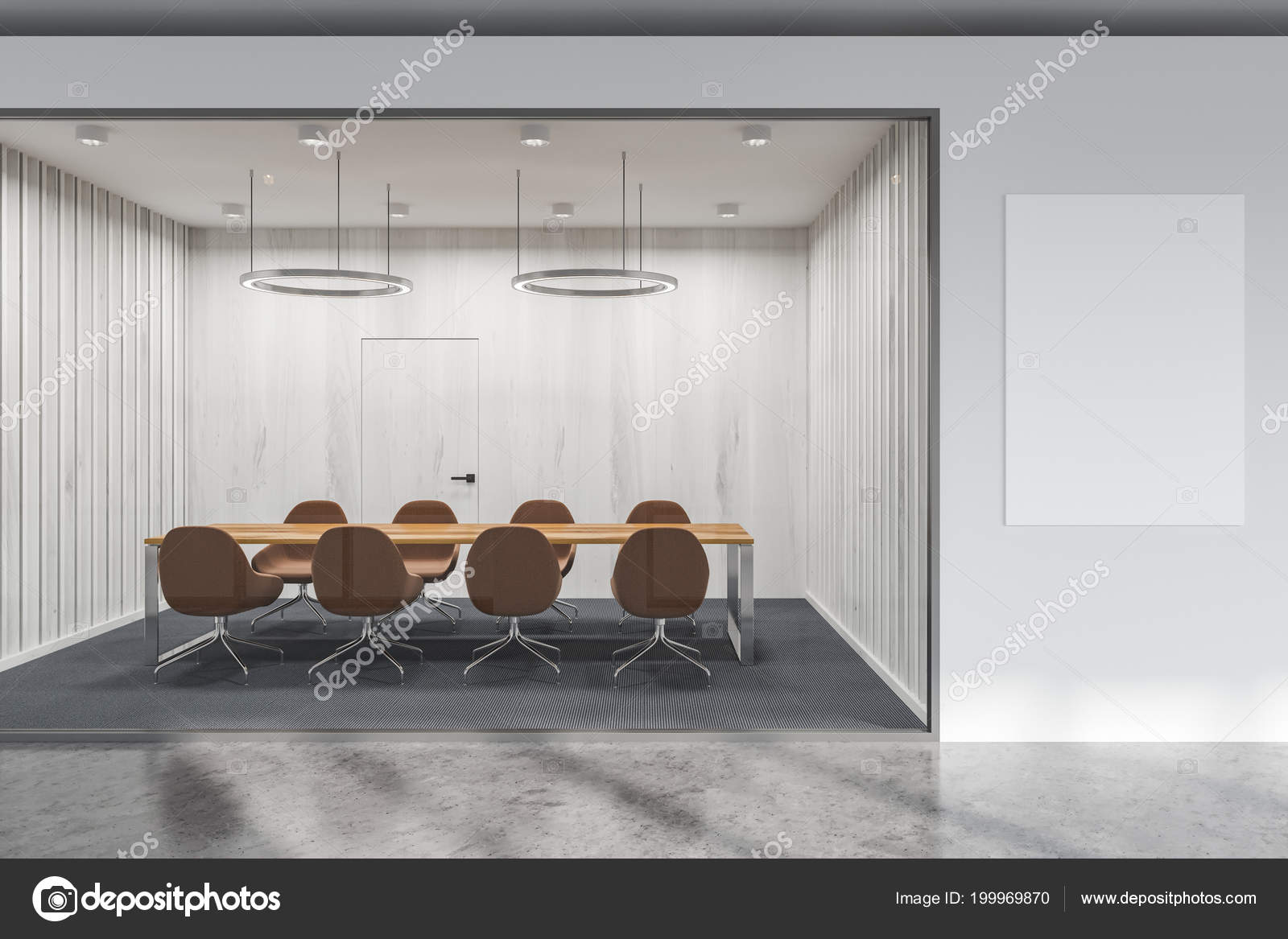 White Glass Wall Office Conference Room Long Table Brown Chairs - Standing conference room table