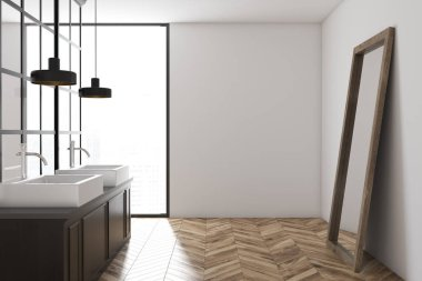 White wall bathroom interior with a metal decoration details, a wooden floor and a double sink with a mirror standing near it. Side view. 3d rendering mock up