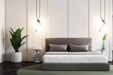 Modern bedroom interior with white walls, a wooden floor with a rug on it, a double bed and a beautiful plant in the corner. 3d rendering mock up