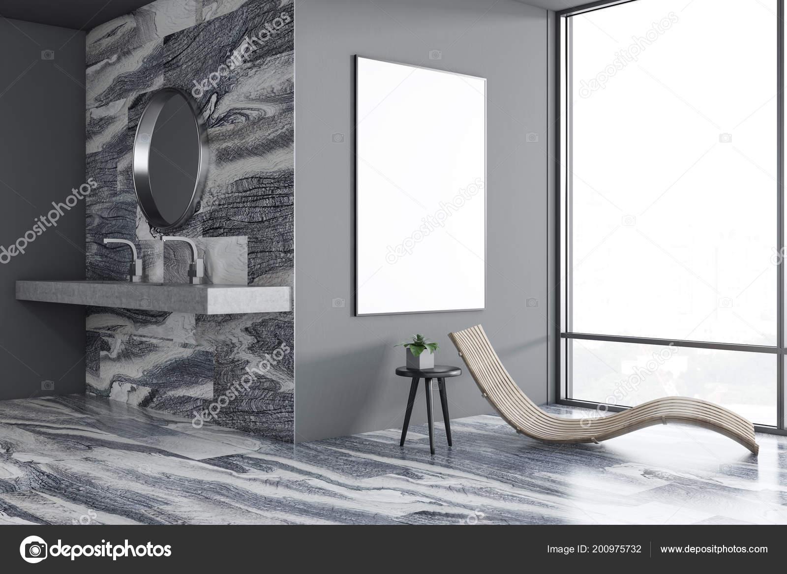 Ronde Spiegel Badkamer : Luxe grijze badkamer interieur met een wastafel een ronde spiegel