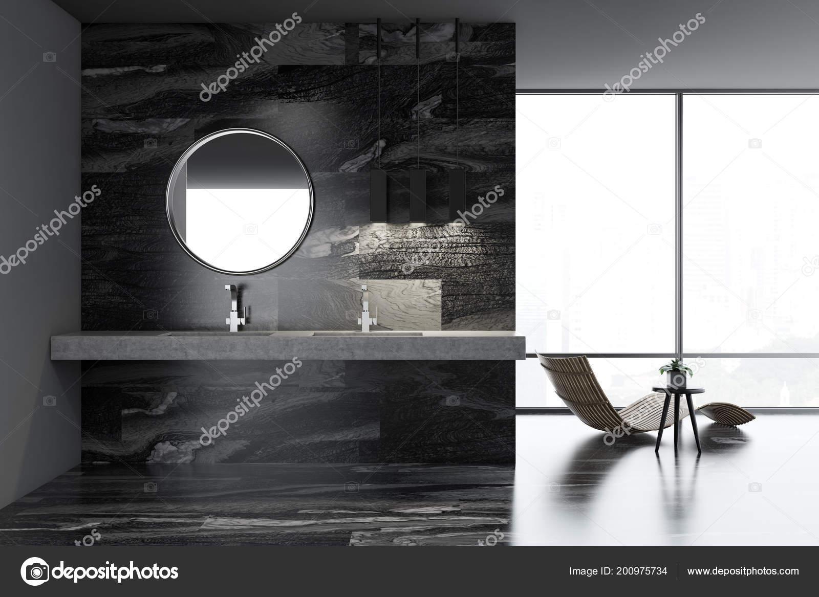 Intérieur Salle Bain Luxe Marbre Noir Avec Une Chaise Longue ...