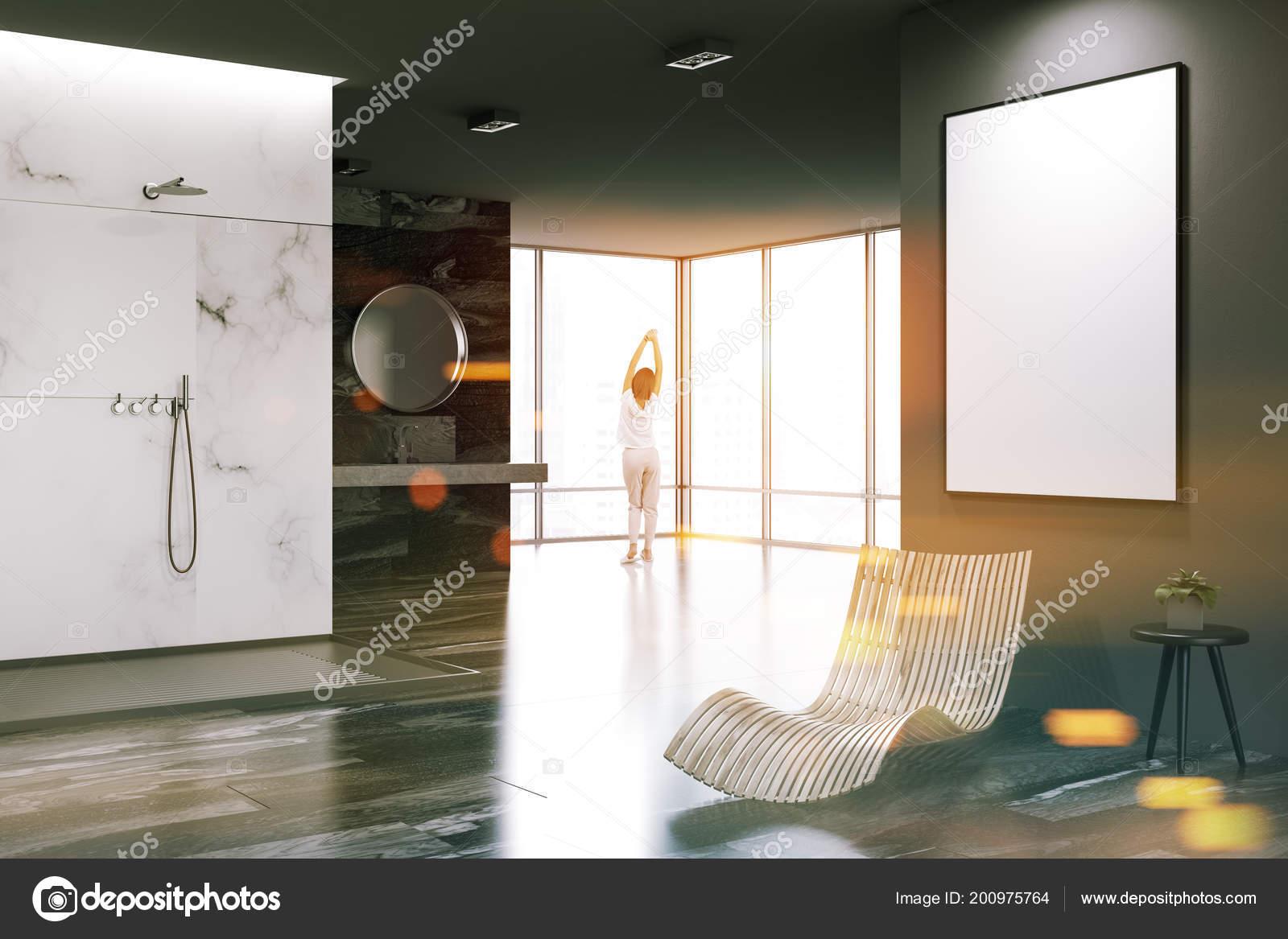 Esquina Cuarto Baño Lujo Mármol Blanco Negro Con Una Ducha ...
