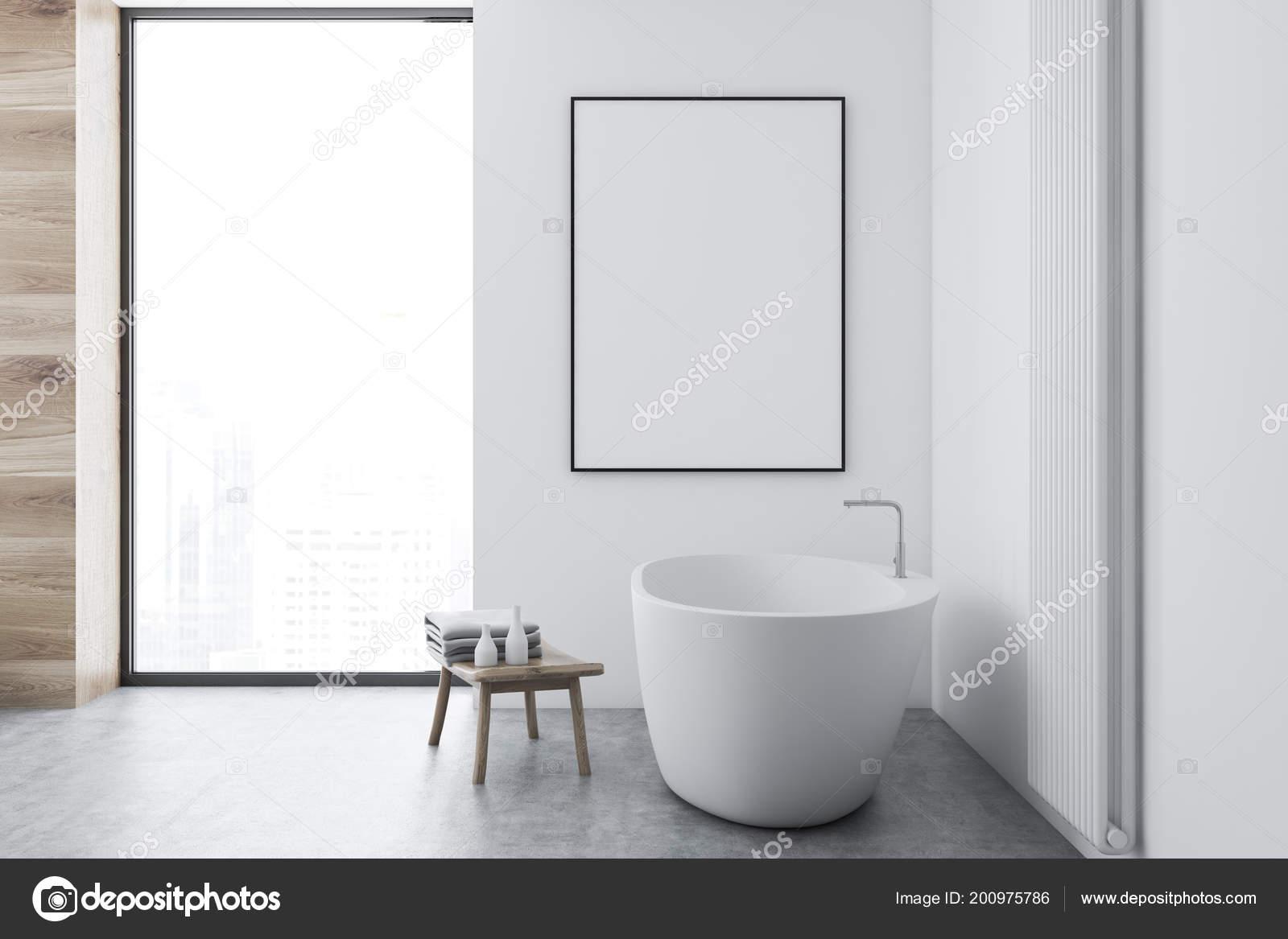 Vasca Da Bagno Verticale : Interno bagno bianco con pavimento cemento una finestra loft una