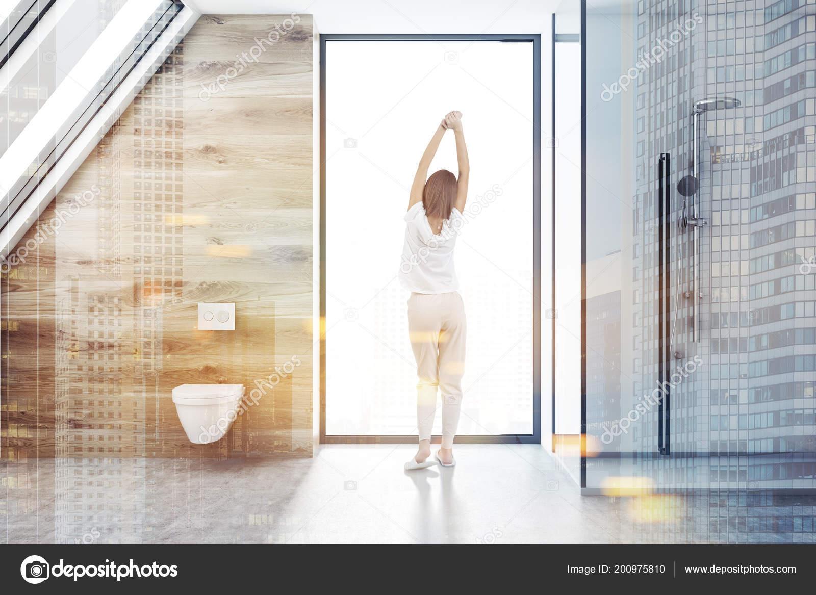 White Bathroom Interior Concrete Floor Loft Window White Shower ...