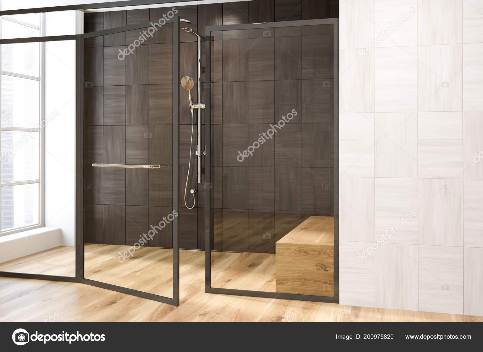 White Black Wooden Wall Bathroom Interior Shower Stall Bench ...