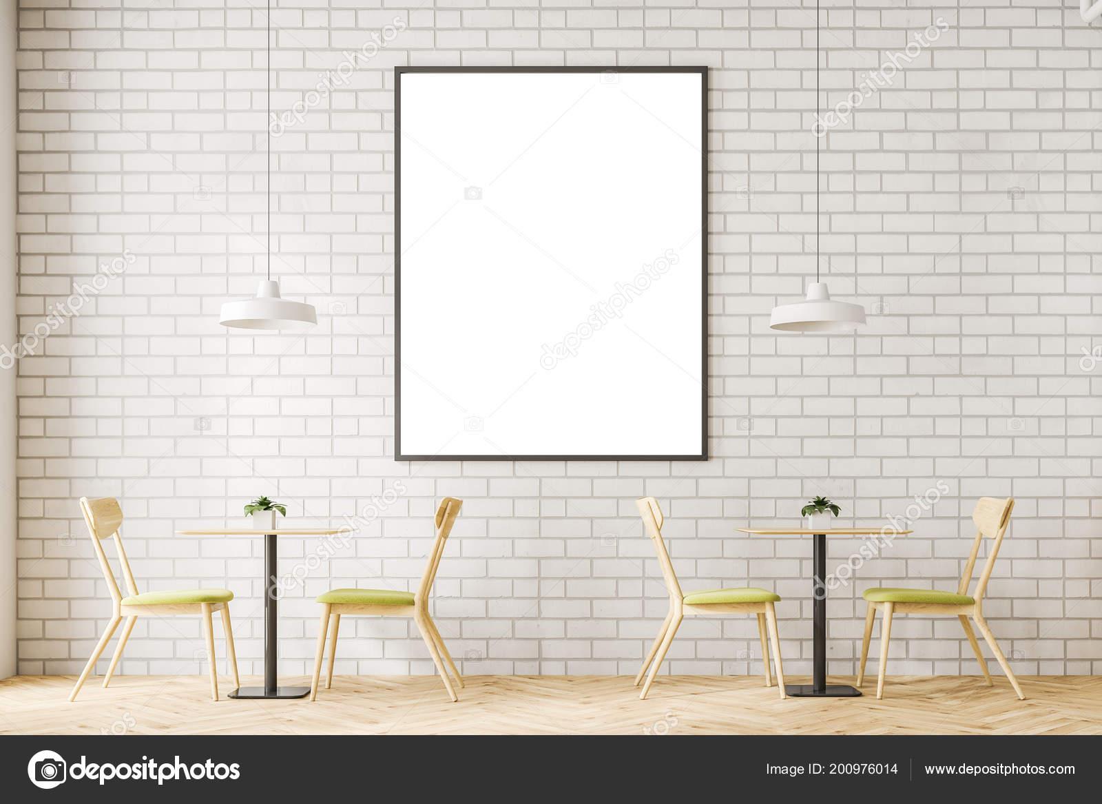 Minimalistische café interieur met witte bakstenen muren een