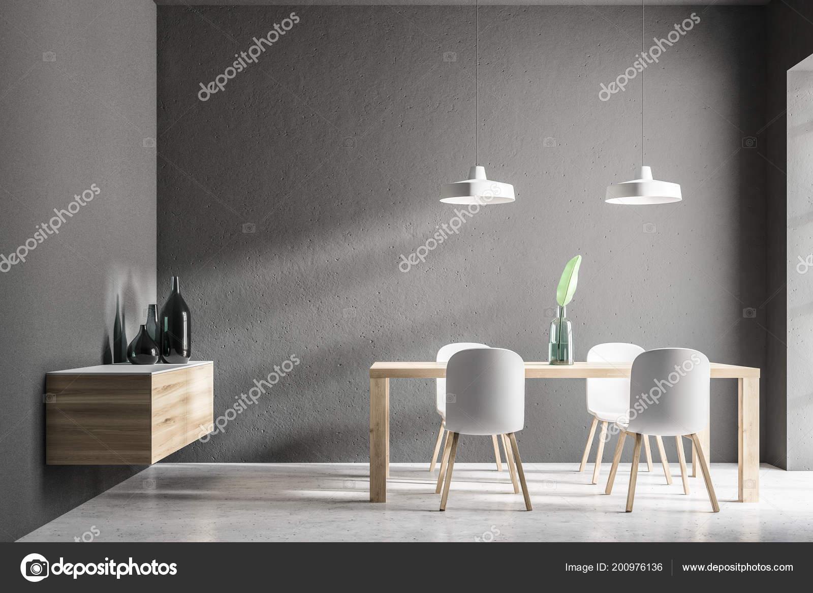 Houten Tafel Met Witte Stoelen.Grijze Eetkamer Interieur Met Een Betonnen Vloer Een Eenvoudige