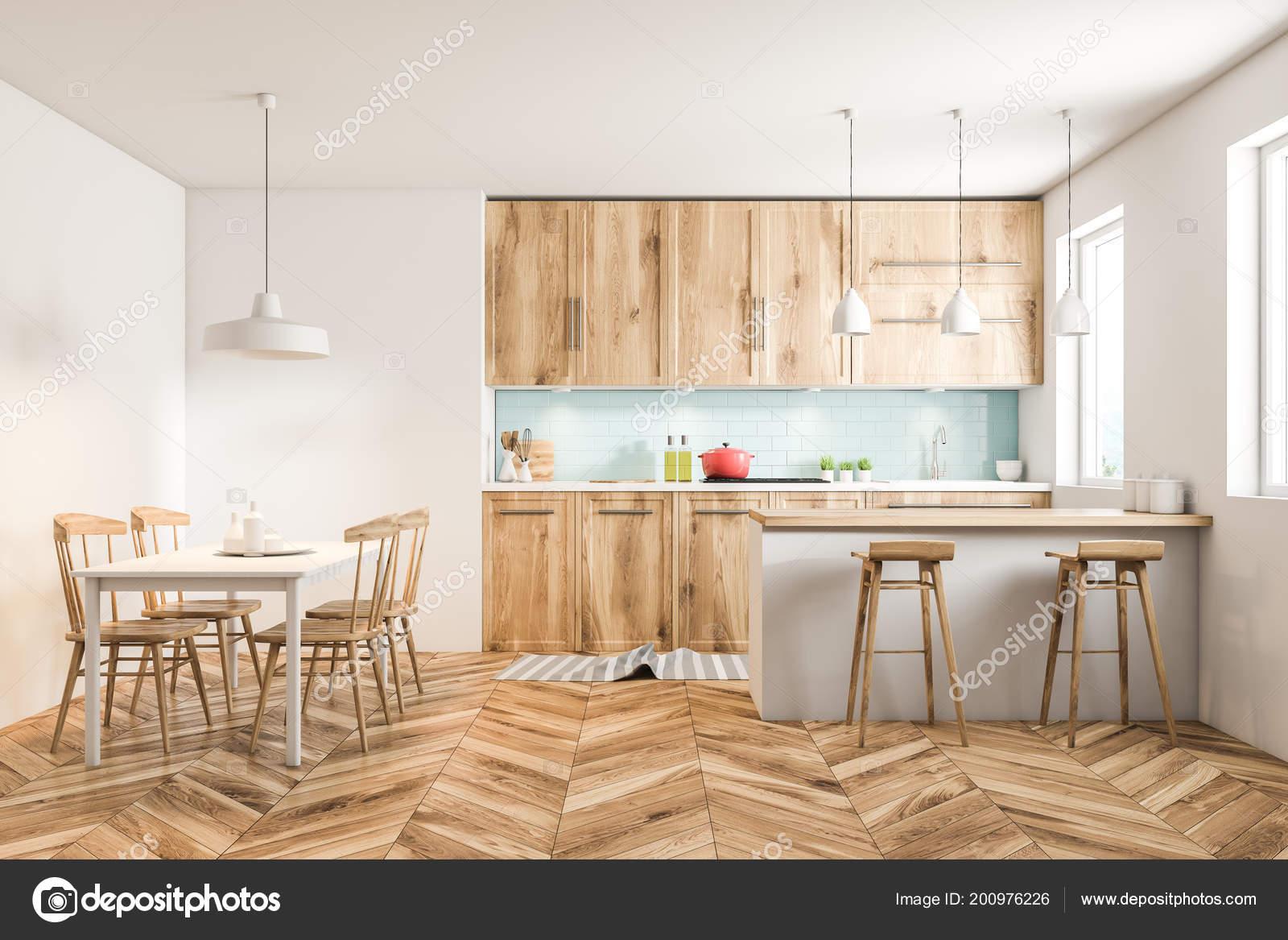 Keuken Interieur Scandinavisch : Witte scandinavische stijl keuken interieur met blauw betegelde