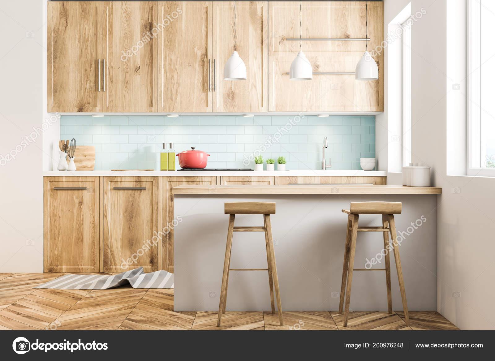 Białe Wnętrze Kuchni Stylu Skandynawskim Niebieskimi