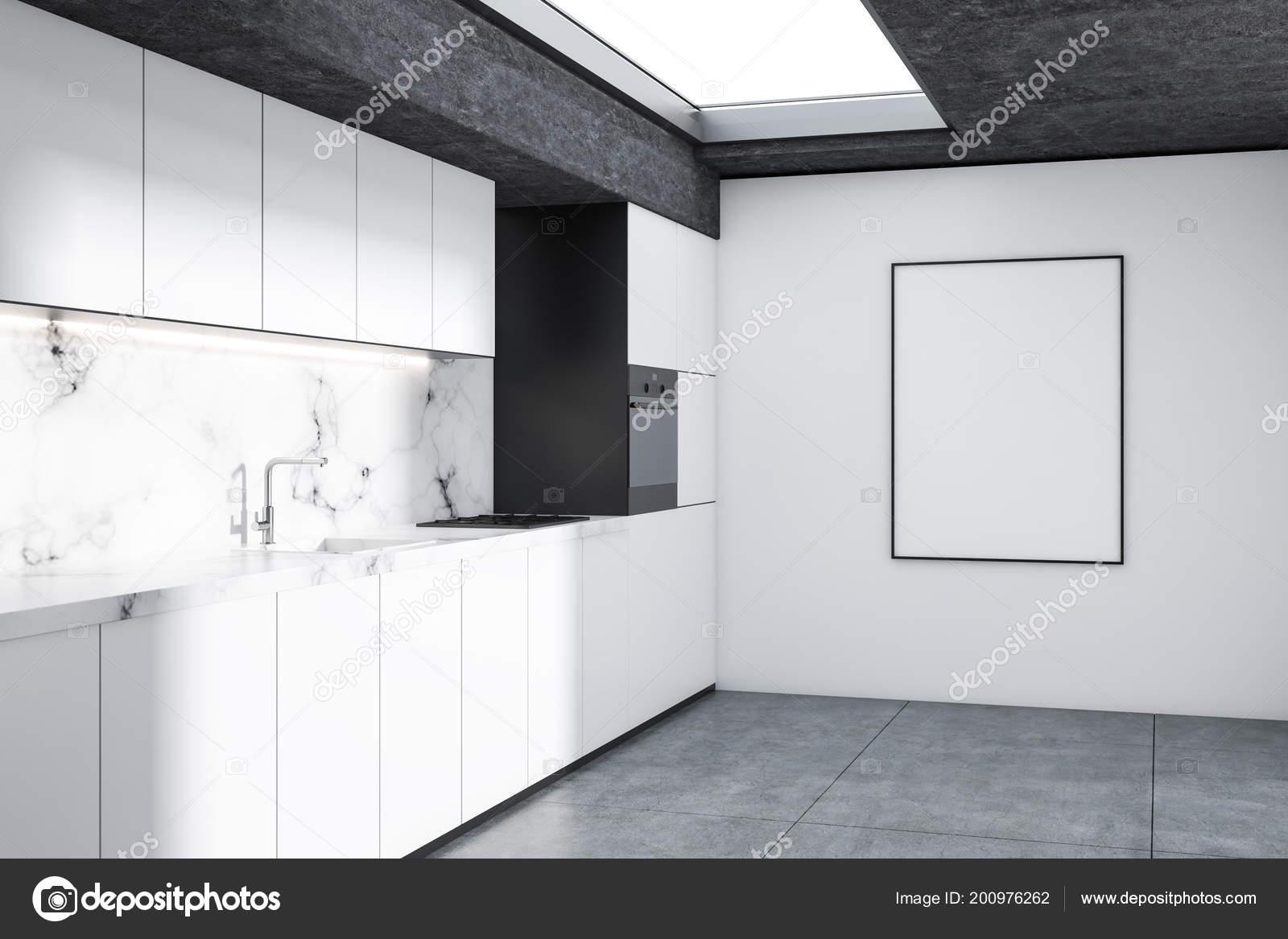 Modern Kitchen Corner White Marble Walls Concrete Floor White ...