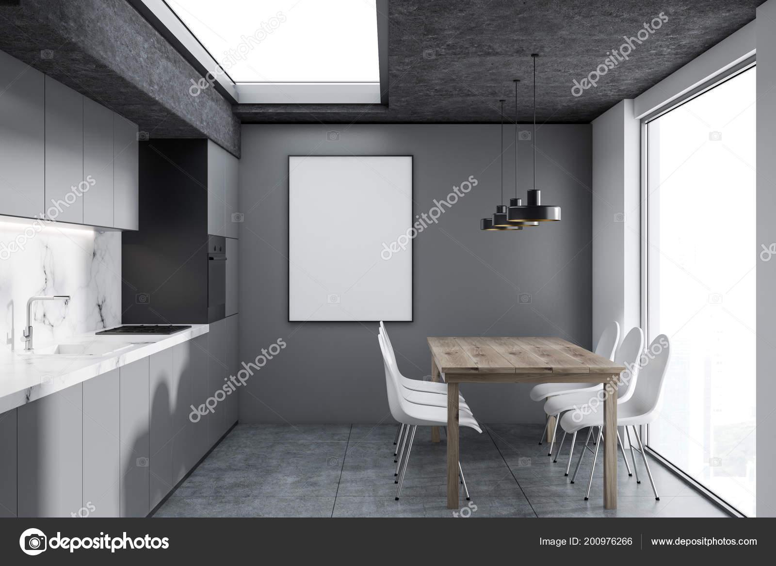 Moderne küche interieur mit weißem marmor und grauen wänden einem