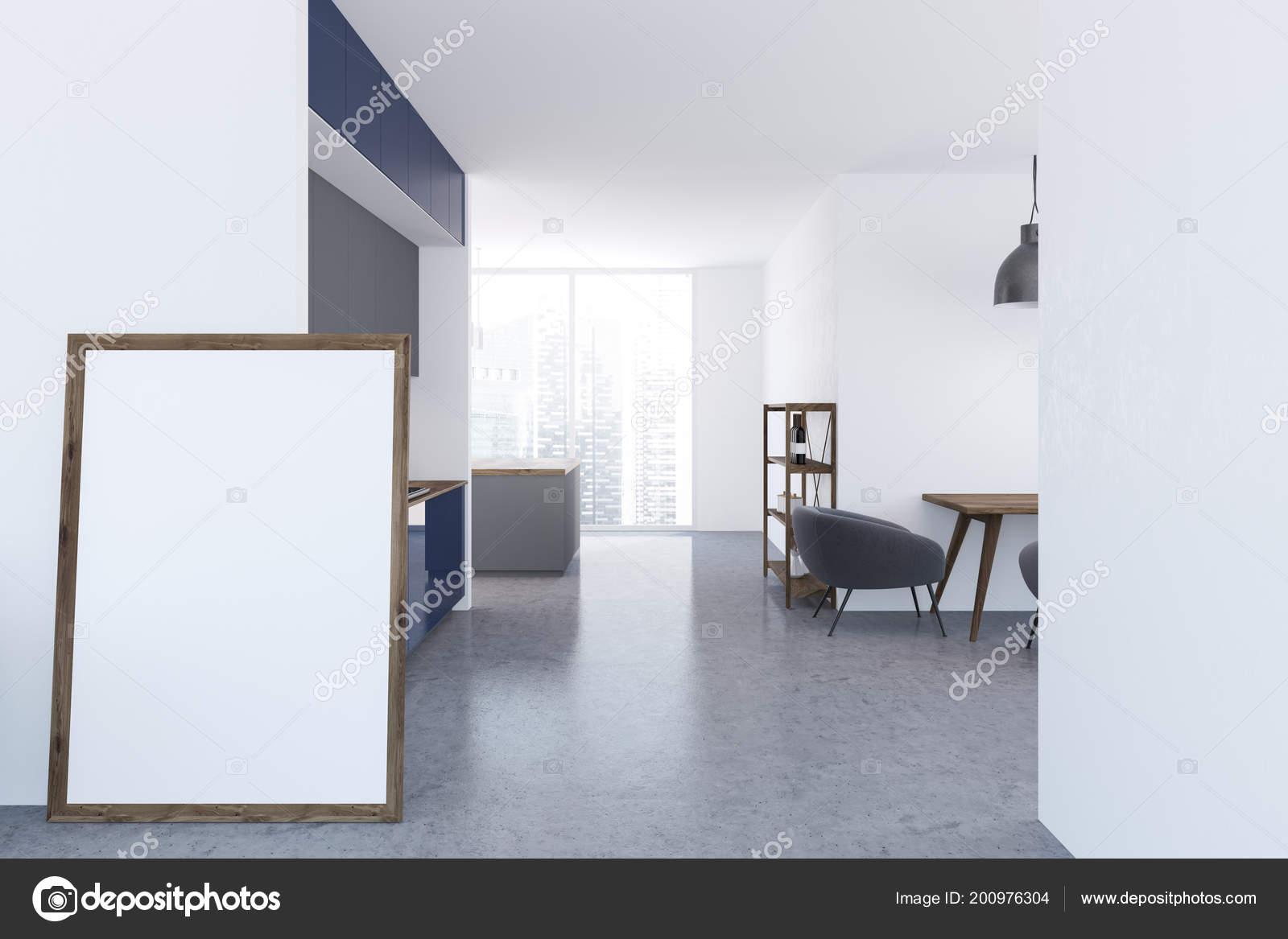 Weisse Wohnzimmer Und Kuche Interieur Mit Grauer Fussboden Und Ein