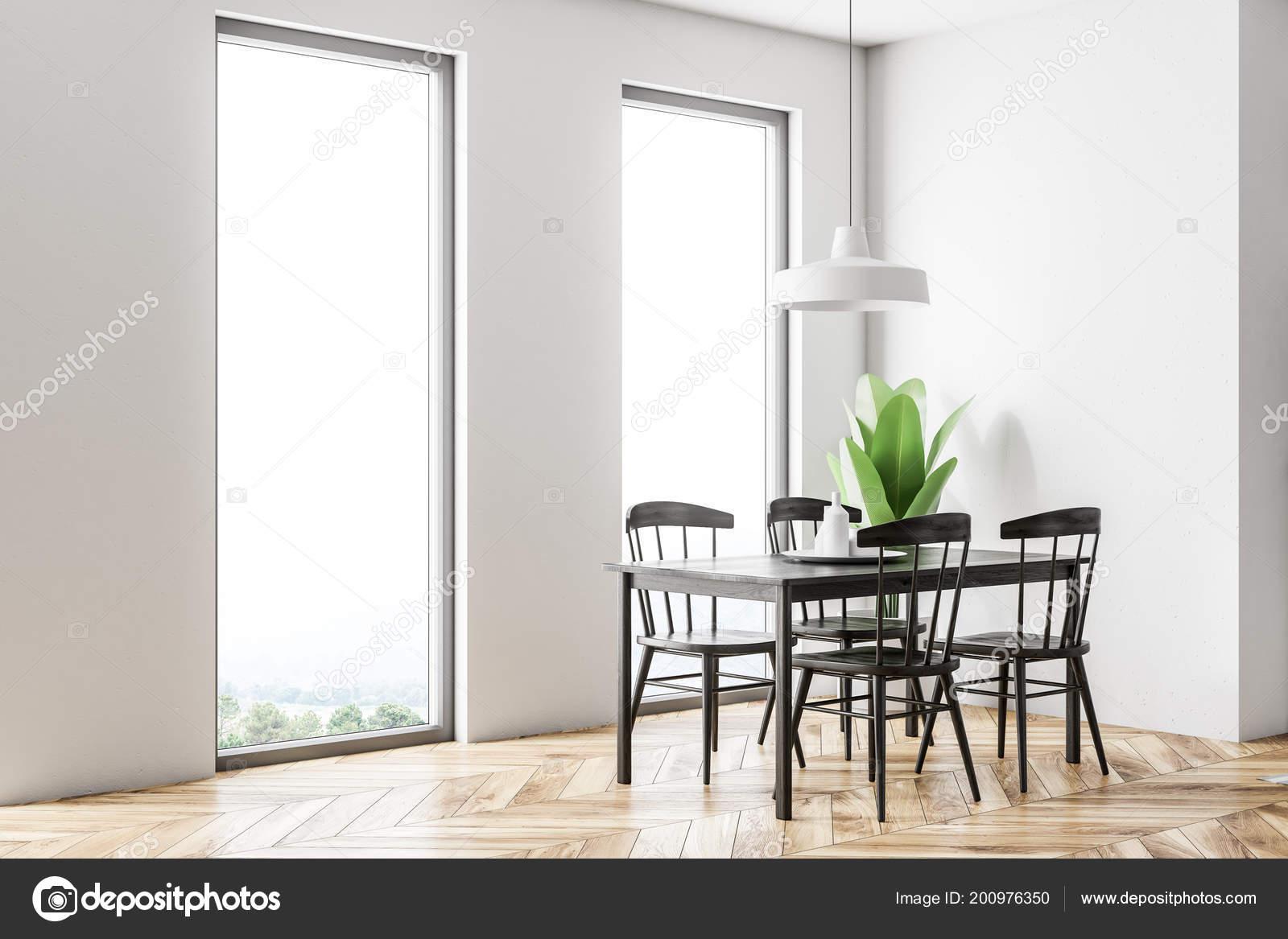 Weißen Skandinavischen Stil Esszimmer Interieur Mit Einem ...