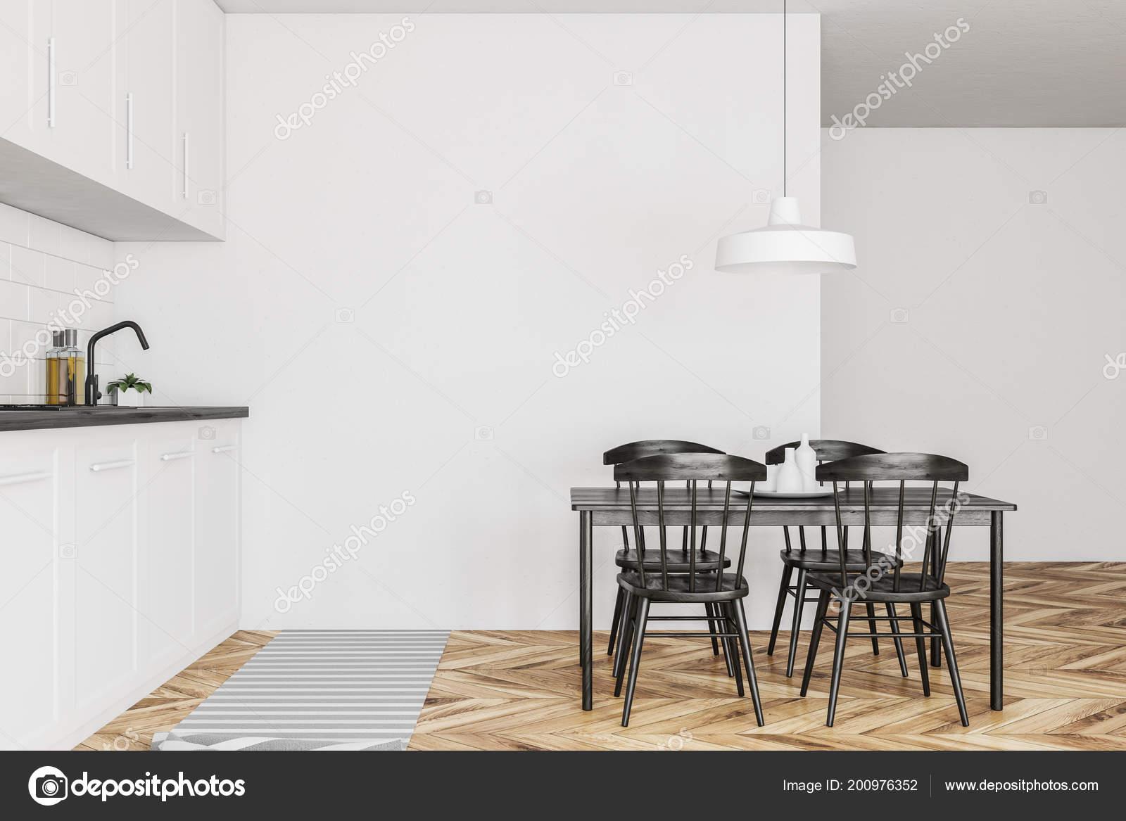 Vue Laterale Une Cuisine Style Scandinave Avec Murs Blancs Plancher