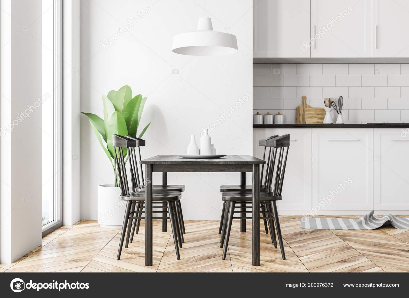 интерьер кухни белый скандинавском стиле белыми стенами деревянный