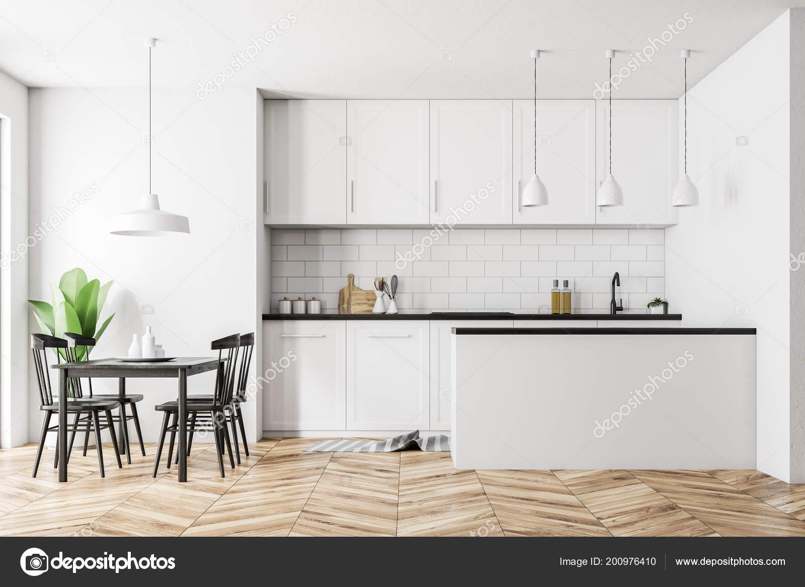 Fußboden Zu Weißer Küche ~ Weiße skandinavische küche interieur mit weißen wänden einen