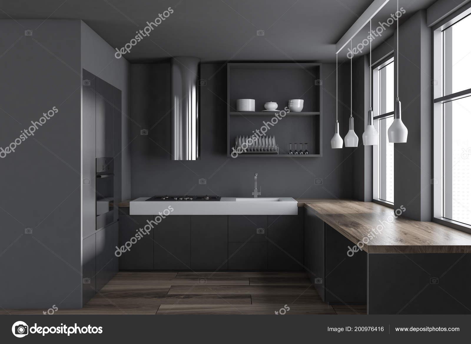 Houten Vloer Grijs : Grijze minimalistische keuken interieur met een houten vloer