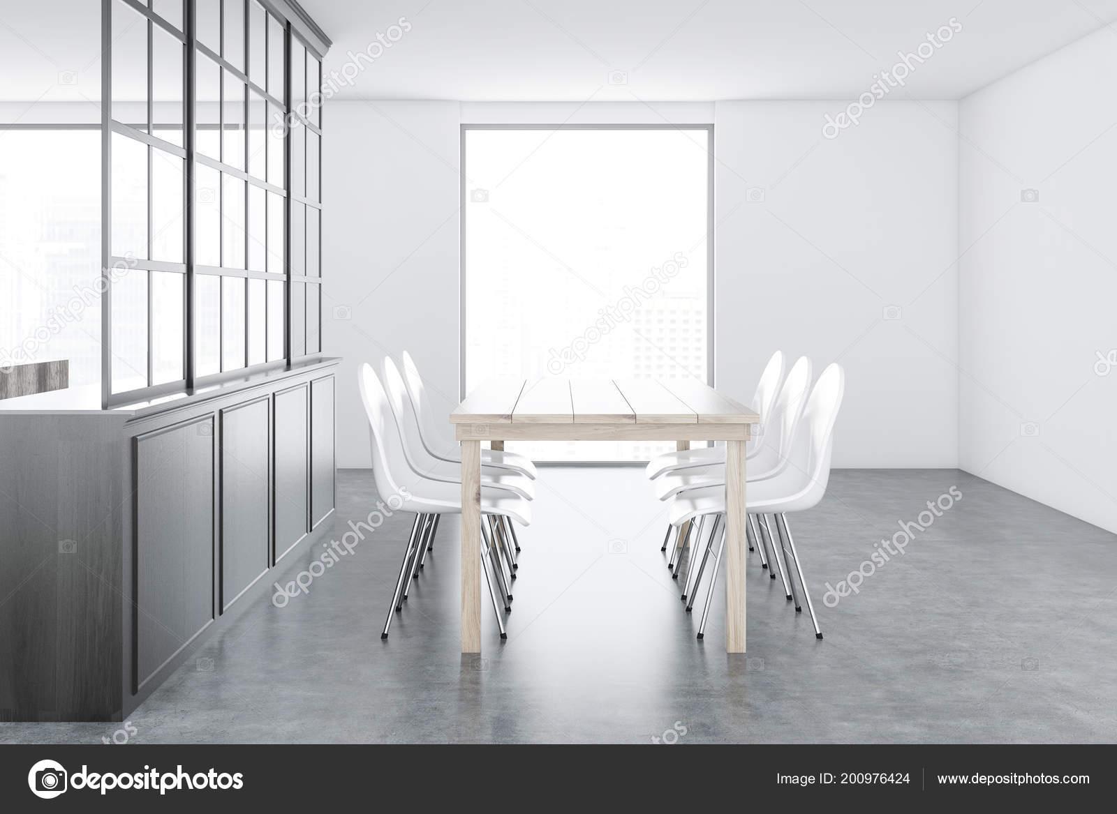 Pavimento Bianco Grigio : Interiore sala pranzo bianco grigio con pavimento cemento tavolo