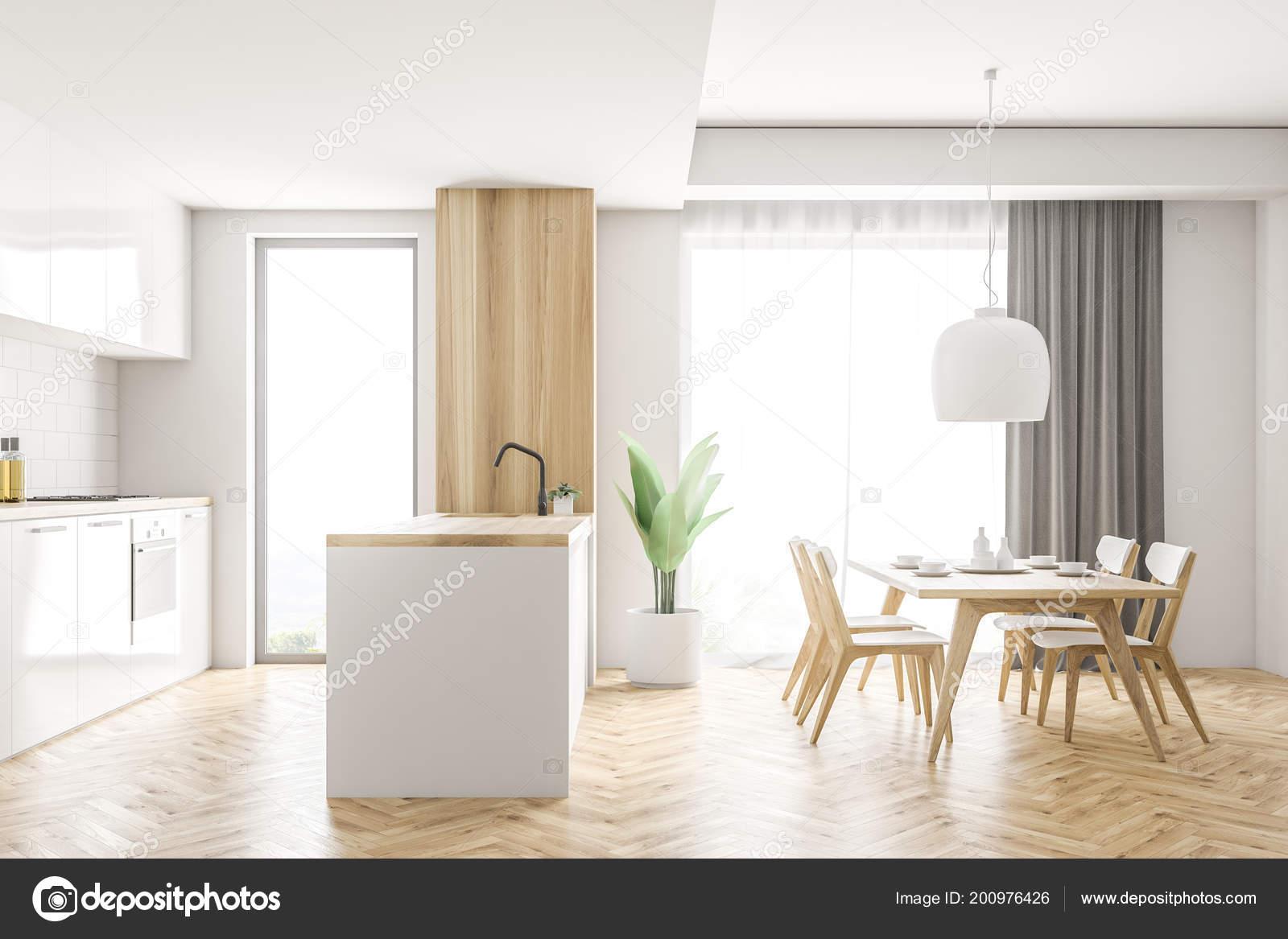 Houten Tafel Met Witte Stoelen.Zijaanzicht Van Witte Houten Keuken Interieur Met Witte Kasten Een