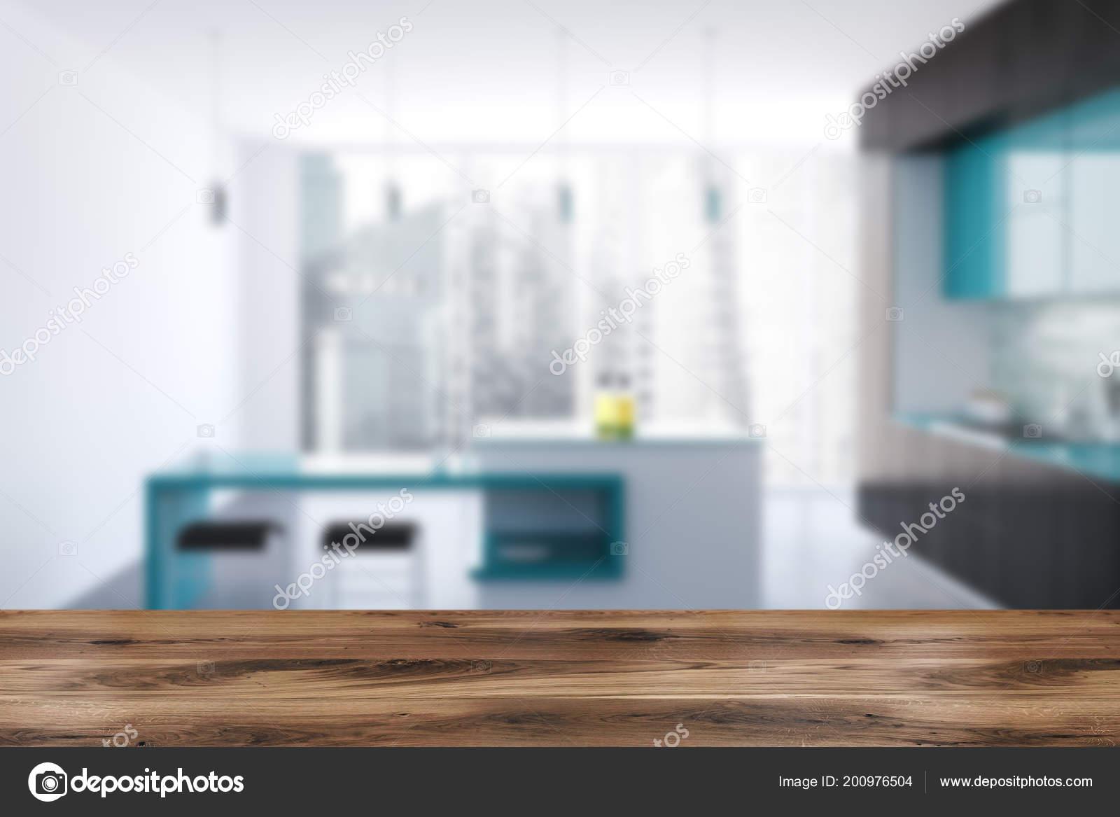 Zwart Wit Origineel Keuken Interieur Met Een Betonnen Vloer ...