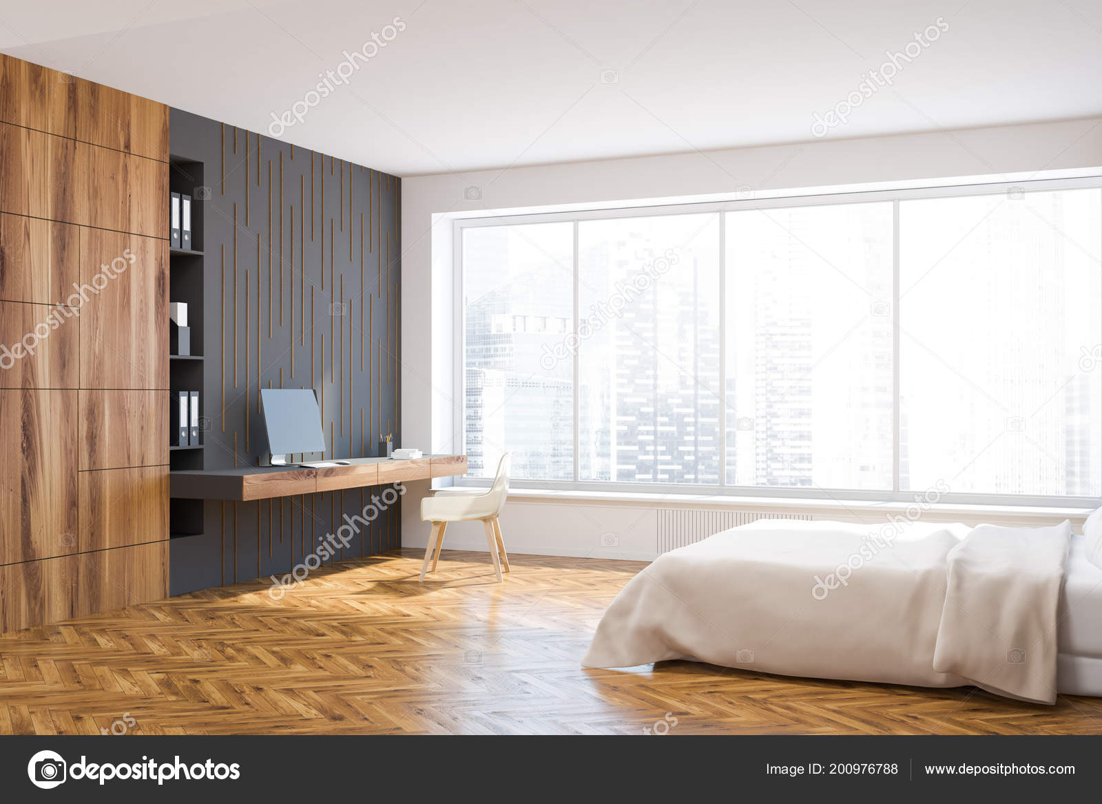 Panorama Fenster Weiß Grau Und Holz Schlafzimmer Innenraum Mit Einem ...