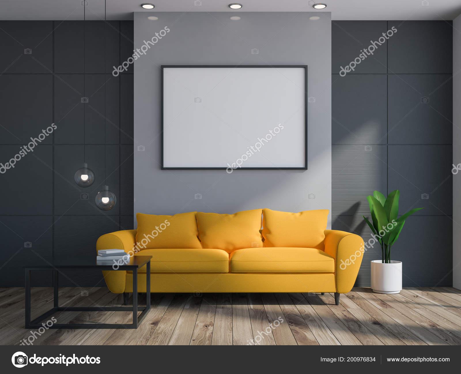 Interieur Salon Gris Noir Avec Plancher Bois Long