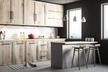 Black Scandinavian style kitchen corner with blue tiled and white walls, a wooden floor, wooden countertops and cabinets and a bar with stools. 3d rendering mock up