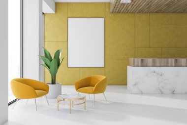 Yellow wall office waiting room interior with a marble floor, a reception, a coffee table with yellow armchairs and a vertical poster. 3d rendering mock up