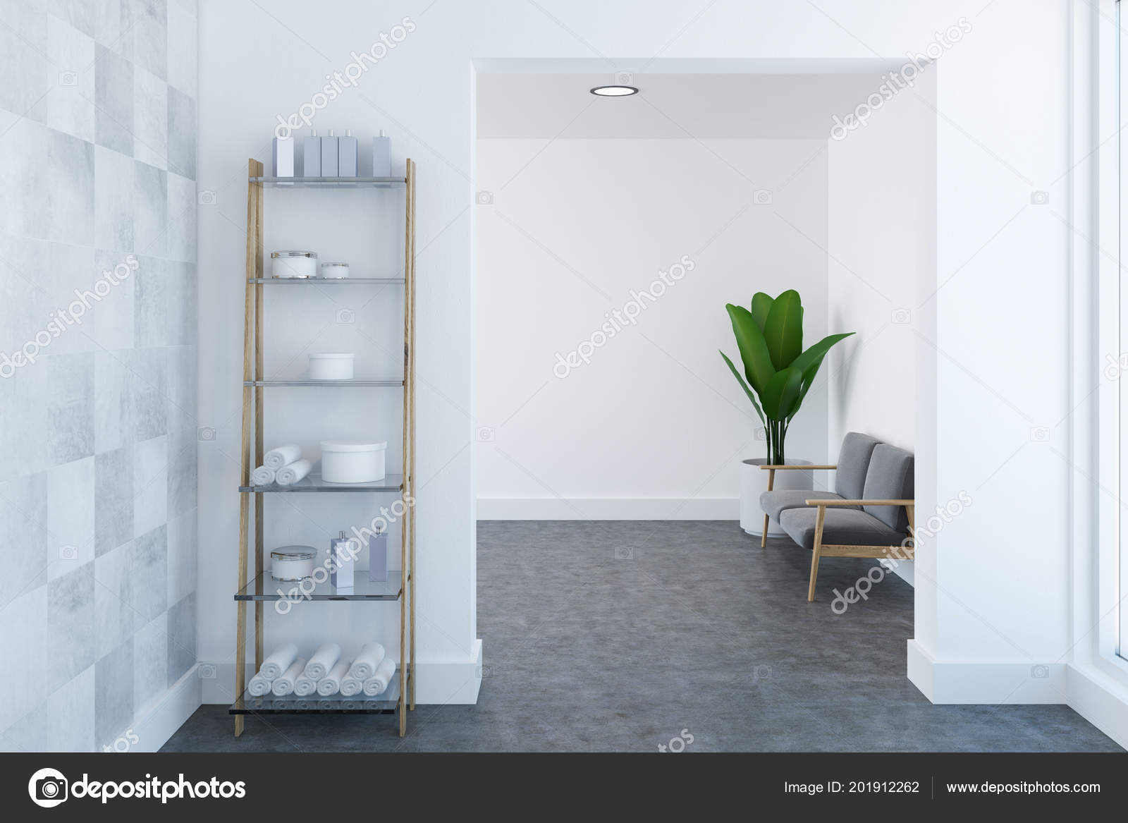 Empty Bathroom Interior White Walls Concrete Floor Shelves