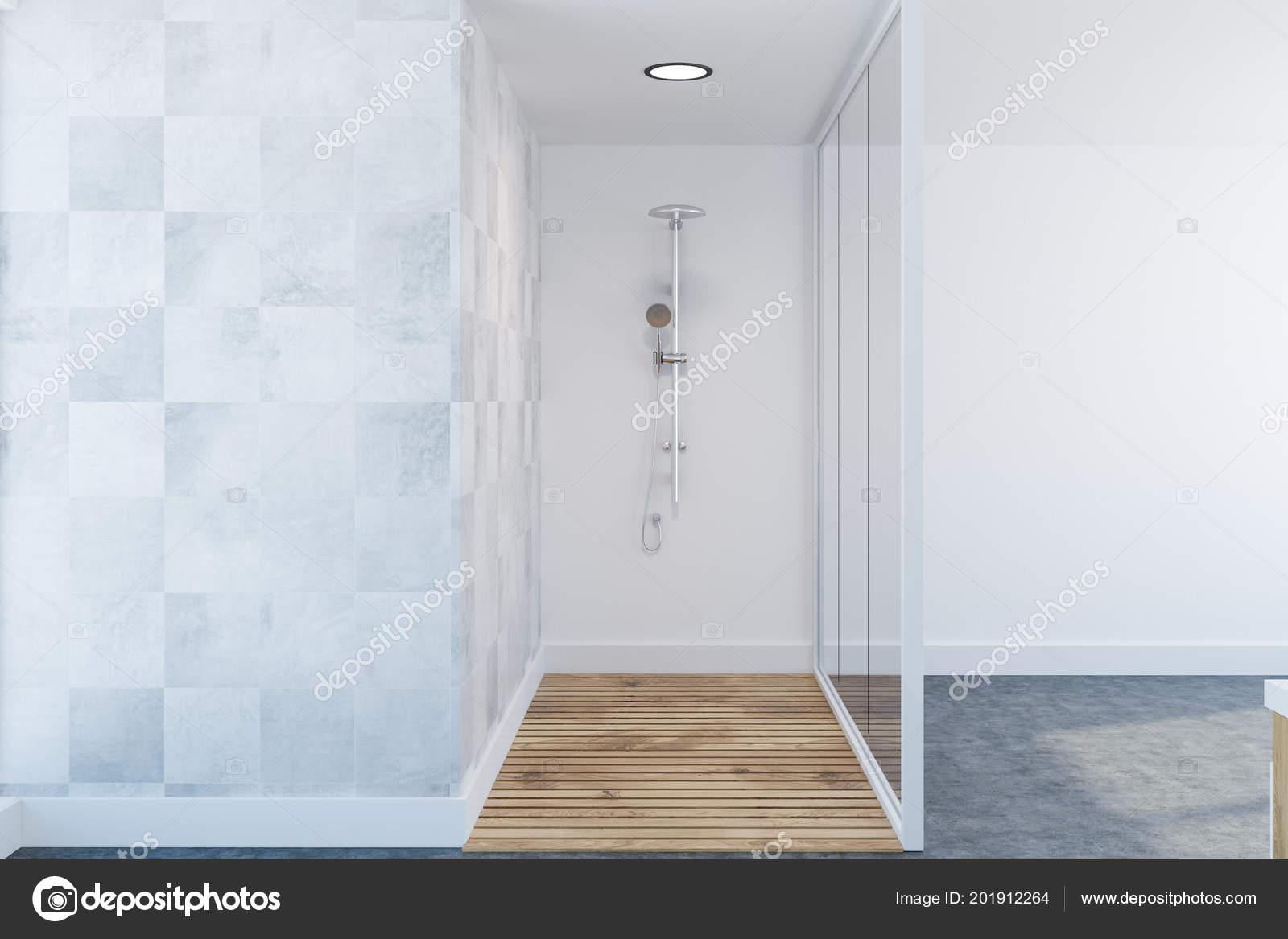 White Tile Luxury Bathroom Interior Concrete Floor Glass White Wall ...
