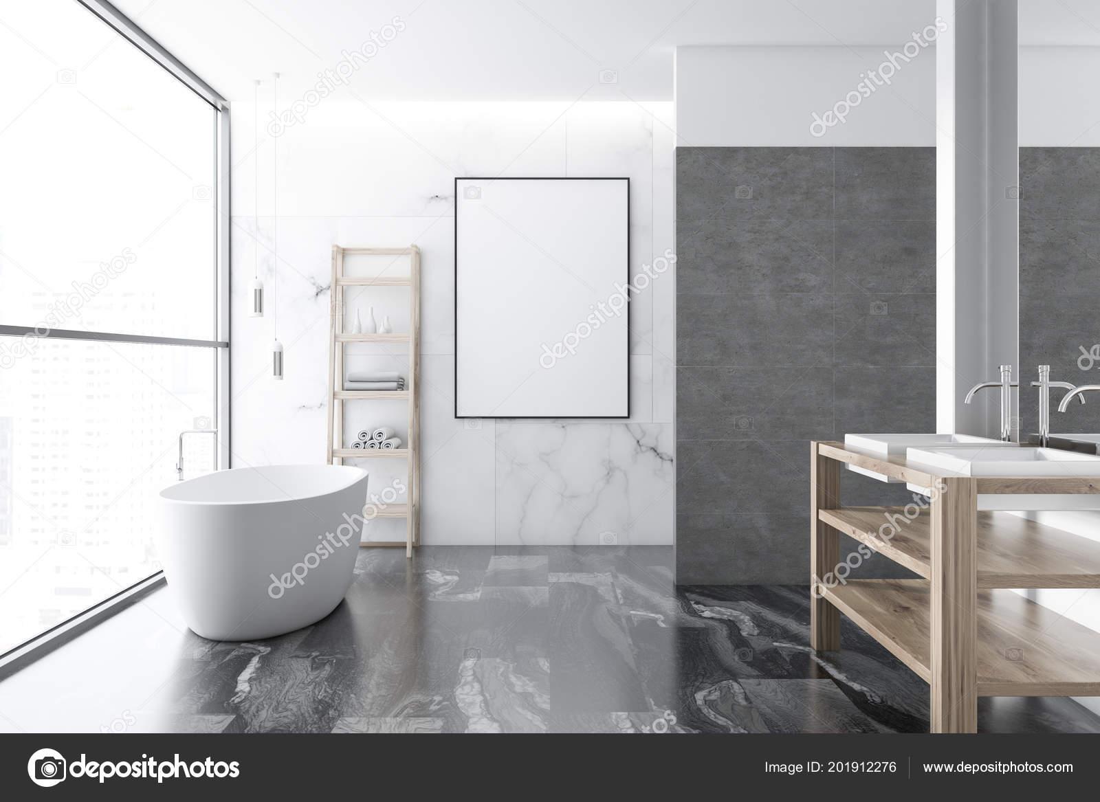 Loft Luxueux Marbre Blanc Salle Bain Intérieur Avec Sol Marbre ...