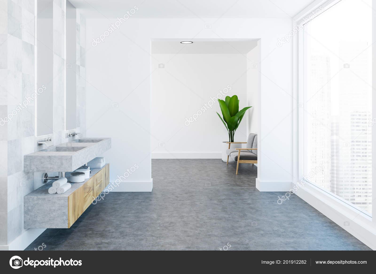 White Tile Spacious Luxury Bathroom Interior Concrete Floor Wooden ...
