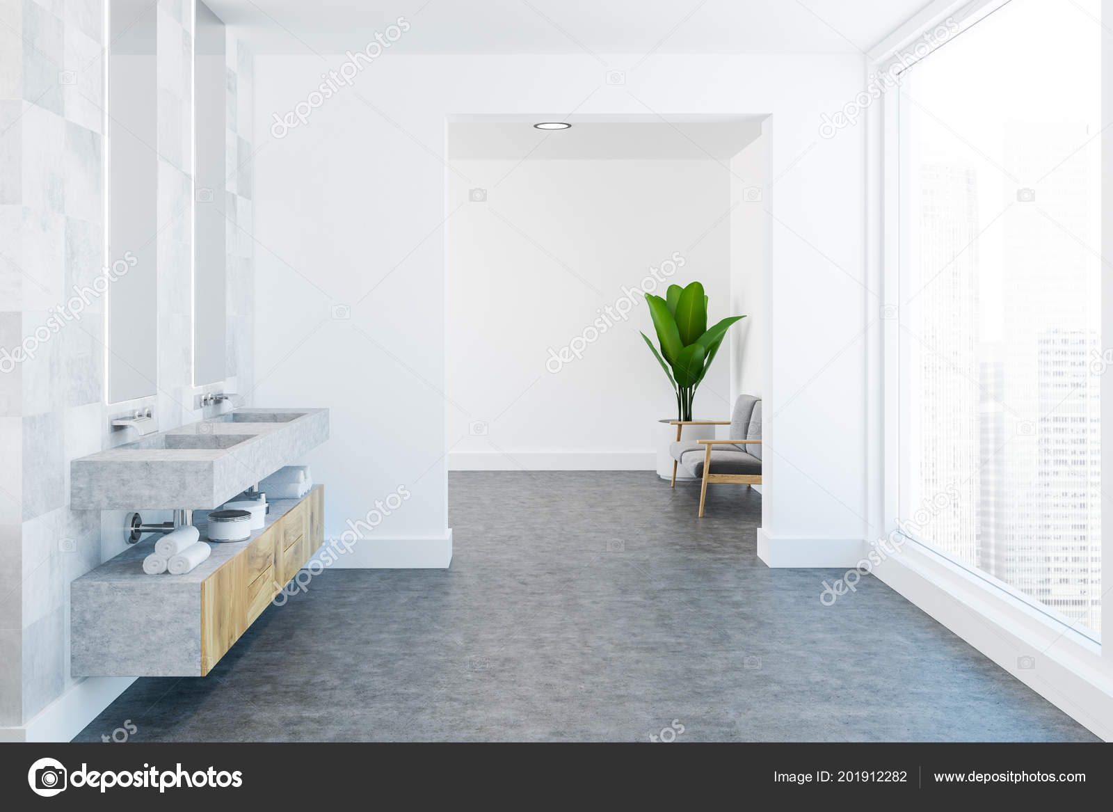 Luxe Badkamer Interieur : Witte tegel ruime luxe badkamer interieur met een betonnen vloer