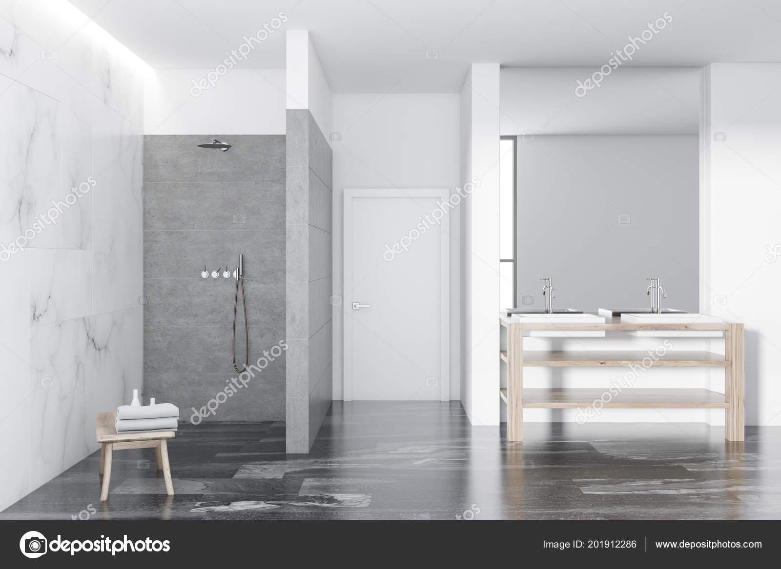 Loft Marbre Blanc Intérieur Salle Bains Luxe Blanche Avec ...
