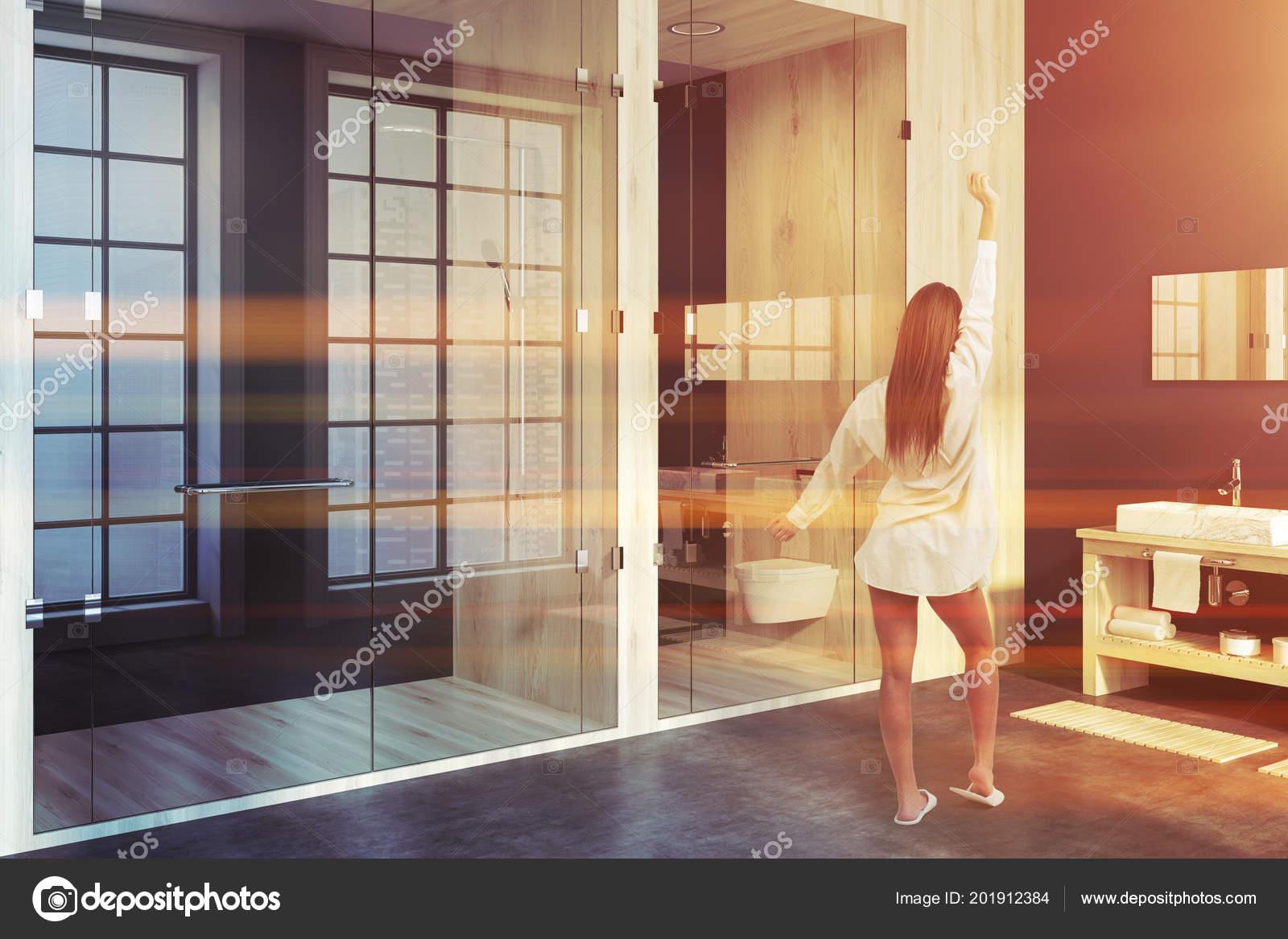 Douche Lavabo Coin Salle Bain Bois Bleu — Photographie ...