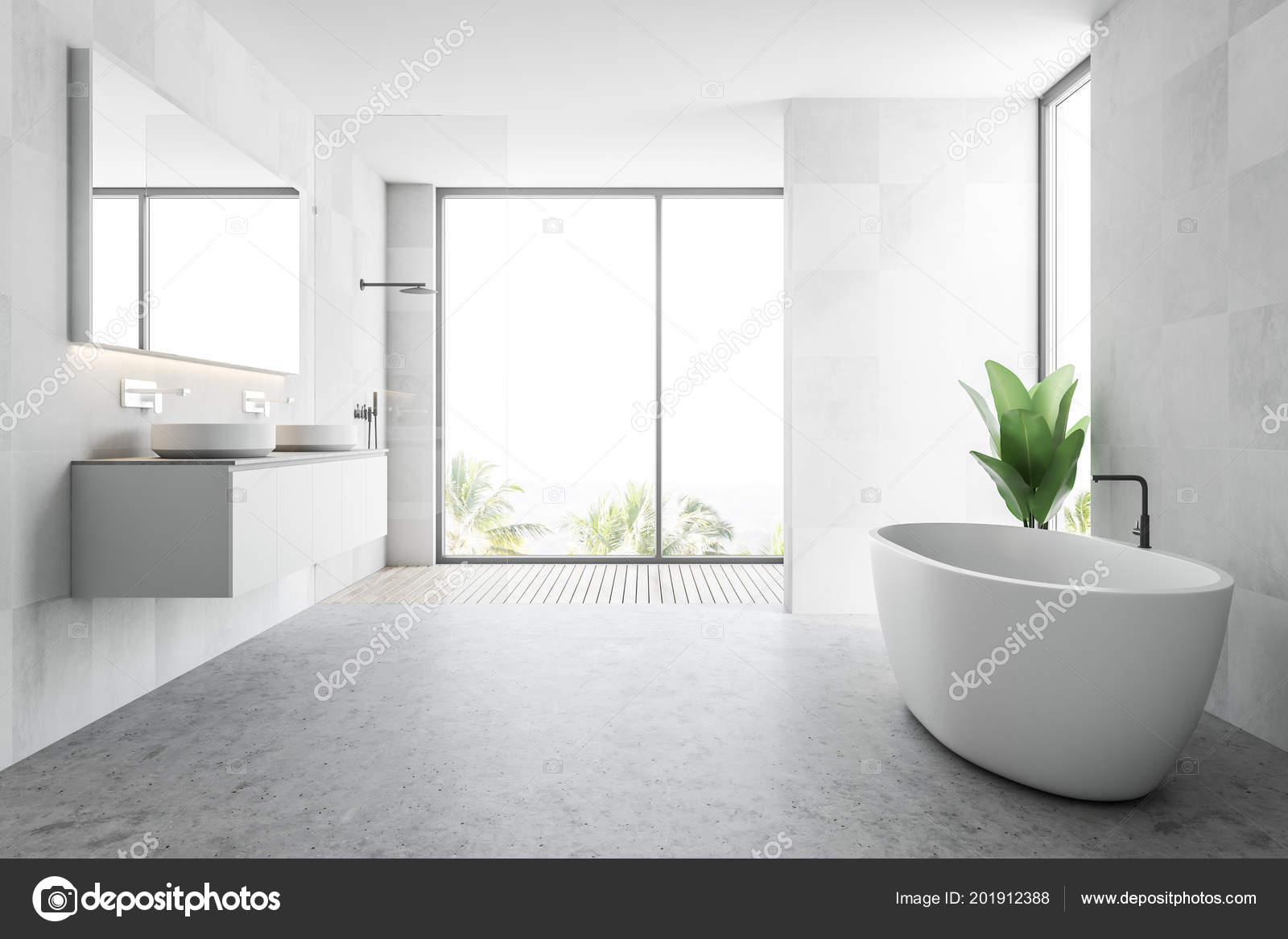 White Wooden Tile Bathroom Interior Concrete Floor White Bathtub ...