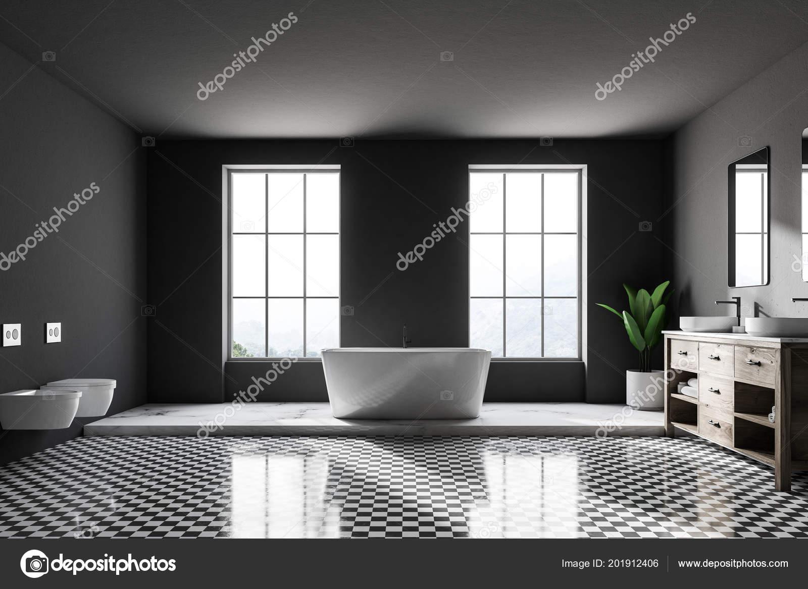 Interior Cuarto Baño Lujo Gris Con Suelo Ajedrezado Blanco ...