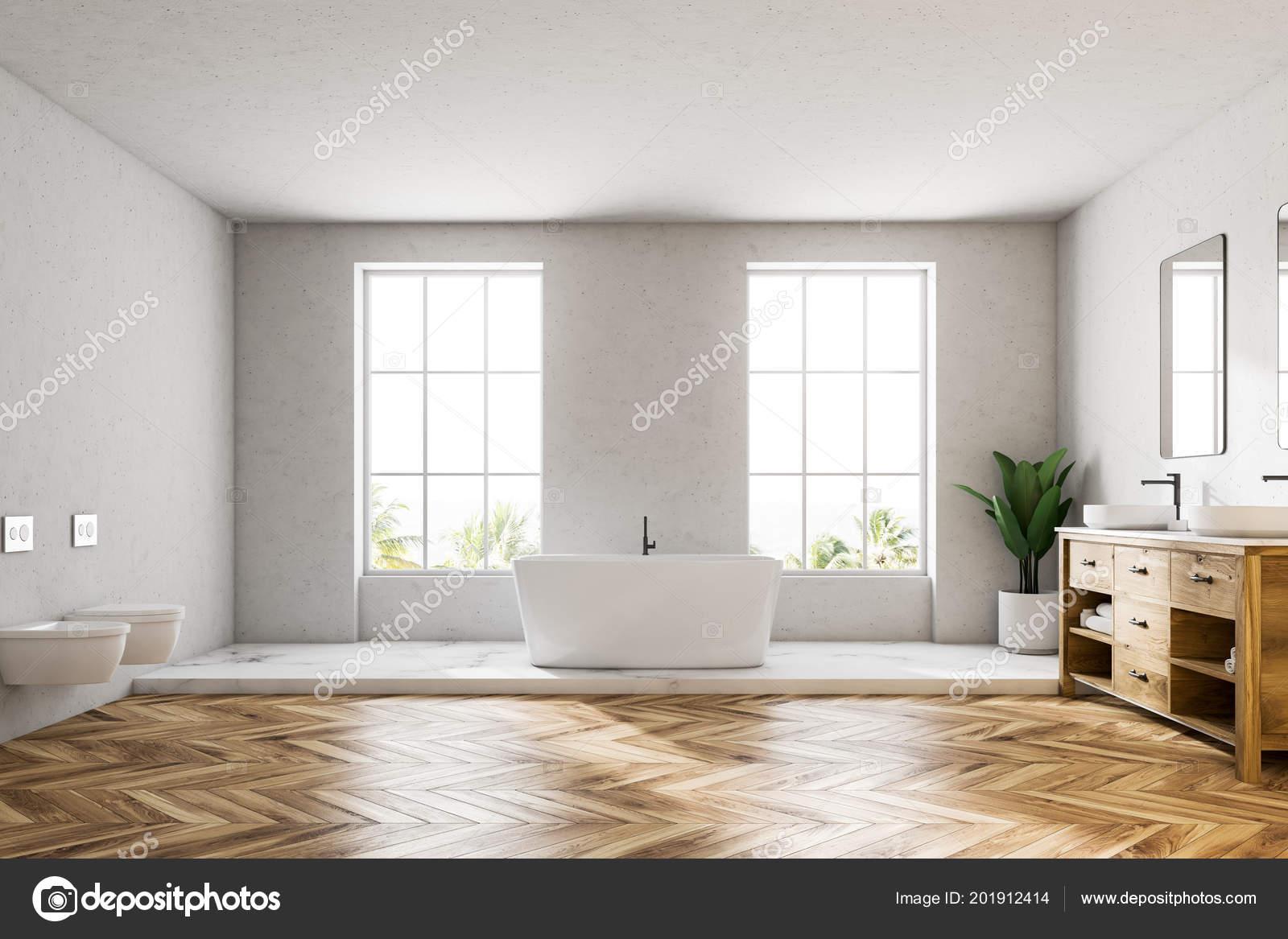 Interior Cuarto Baño Lujo Blanco Con Suelo Madera Una ...