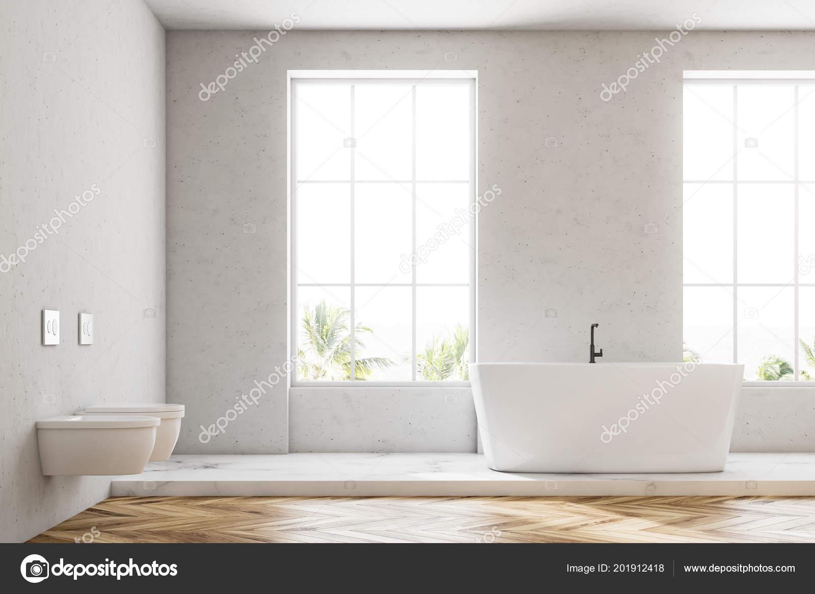 Biały Luksusowe Wnętrze łazienka Drewnianą Podłogą Białą