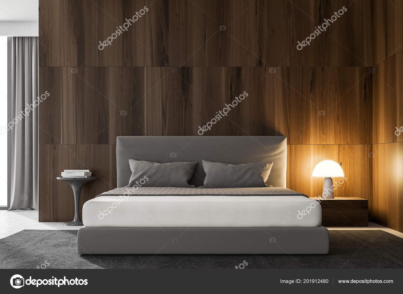 Wnętrze Sypialni Ciemne Drewniane ściany Szare łóżko Wzorca
